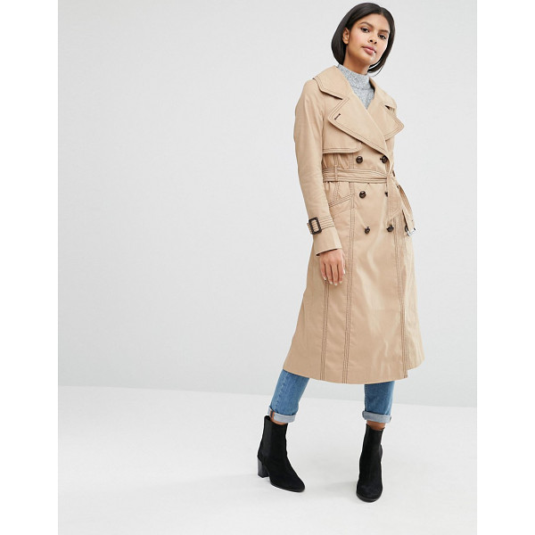 ASOS Midi Trench with Oversized Collar and Stitch Detail - Trench by ASOS Collection, Woven fabric, Lined design,...