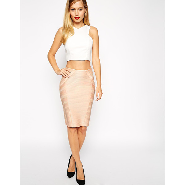 ASOS Pencil skirt in bandage rib - Pencil skirt by ASOS Collection Firm-stretch, ribbed fabric...