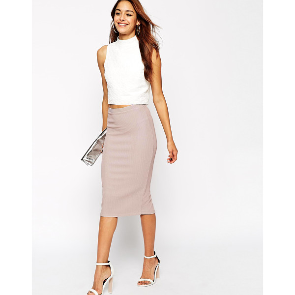 ASOS Midi Pencil Skirt in Heavy Rib - Midi skirt by ASOS Collection, Ribbed stretch fabric, High...