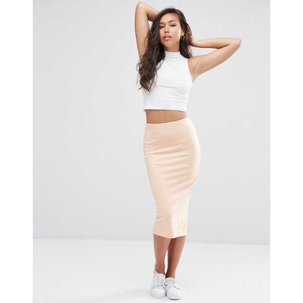 ASOS Midi pencil skirt in jersey - Midi skirt by ASOS Collection, Stretch cotton jersey, High...