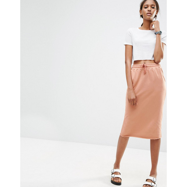 "ASOS Midi Pencil Skirt in Sweat with Drawstring Waist - """"Midi skirt by ASOS Collection, Soft sweat, Drawstring..."