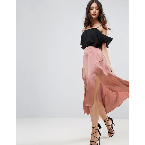 """ASOS Midi Satin Skirt with Splices and Seam Detail - """"""""Midi skirt by ASOS Collection, Smooth and lightweight..."""