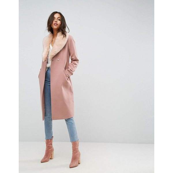"ASOS Midi Skater Coat with Luxe Faux Fur Trim - """"Coat by ASOS Collection, Soft woven fabric, Fully lined,..."