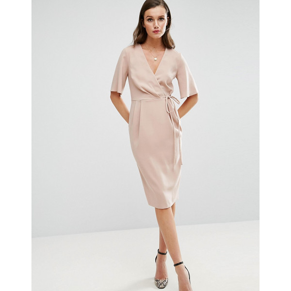 "ASOS Midi Wrap Dress with Tie Detail - """"Midi dress by ASOS Collection, Smooth stretch fabric,"