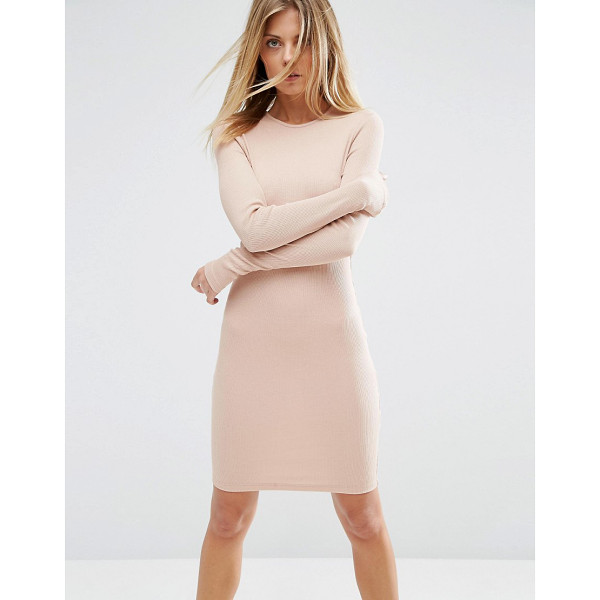 "ASOS Mini Bodycon Dress in Rib with Long Sleeves - """"Dress by ASOS Collection, Ribbed jersey, Round neckline,..."
