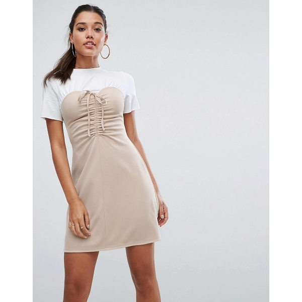 "ASOS Mini Dress With Ruched Bodice - """"Mini dress by ASOS Collection, Stretch jersey, Crew neck,..."