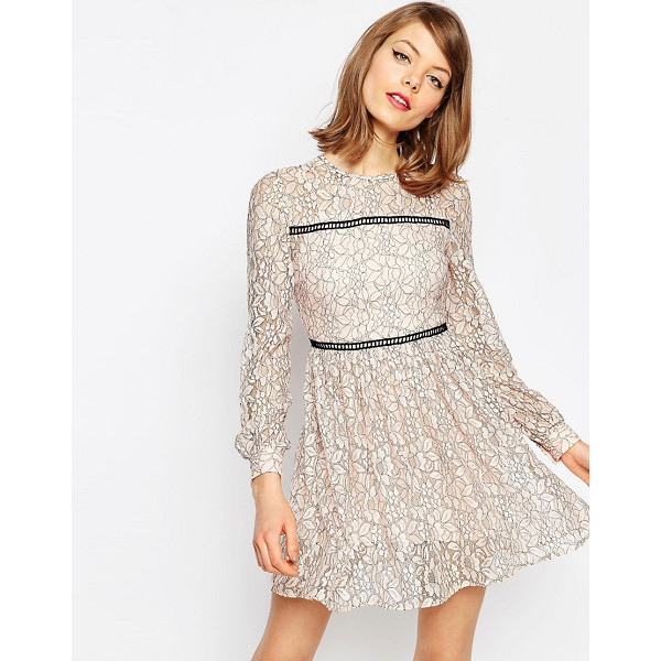 ASOS Mini Lace Skater Dress With Ladder Trim - Casual dress by ASOS Collection, Lace mesh fabric, Partial...