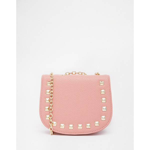 ASOS Mini saddle cross body bag with studs - Cart by ASOS Collection Textured leather-look fabric Press...