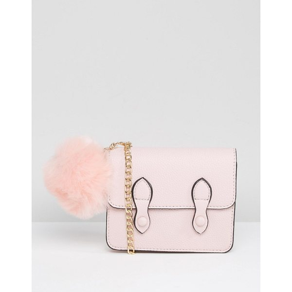 "ASOS Mini Satchel Bag With Detachable Pom - """"Bag by ASOS Collection, Textured faux leather, Gold chain..."