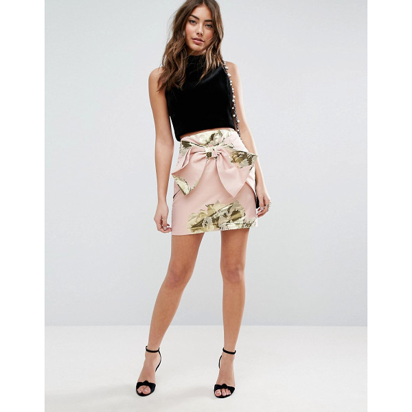 ASOS Mini Skirt in Metallic Jacquard with Bow Detail - Mini skirt by ASOS Collection, Lightweight woven fabric,