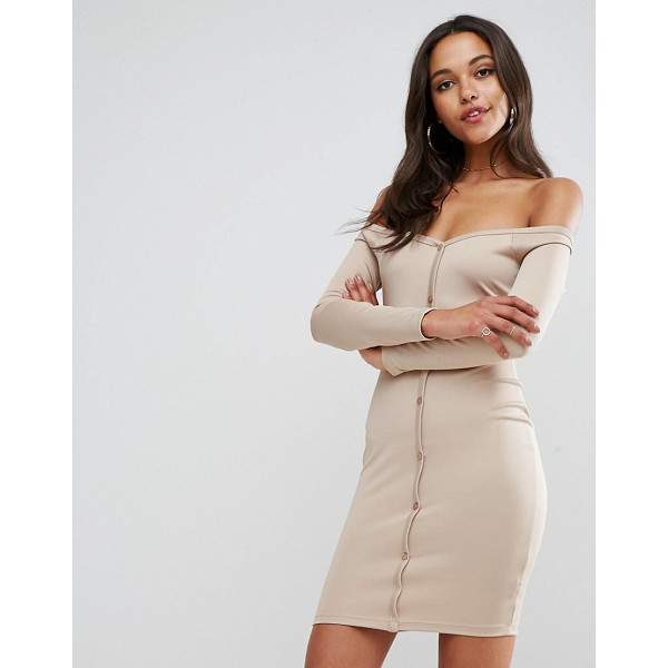 "ASOS Off Shoulder Button Through Mini Bodycon Dress In Soft Touch Jersey - """"Bodycon dress by ASOS Collection, Smooth knitted fabric,..."