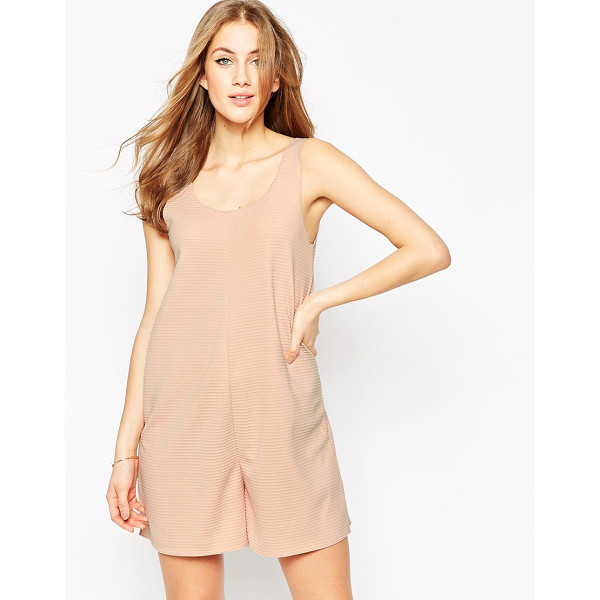 ASOS Relaxed lounge romper in nude rib - Romper by ASOS Collection, Ribbed jersey, Scoop neckline,...