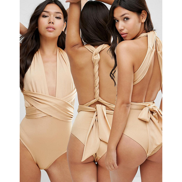 ASOS Multiway Swimsuit - Swimsuit by ASOS Collection, Plain swim fabric, Plunge...