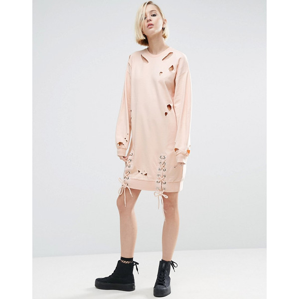 ASOS Nibbled Sweat Dress with Front Lace Up Splits - Dress by ASOS Collection, Loop-back sweat, Cut-out...