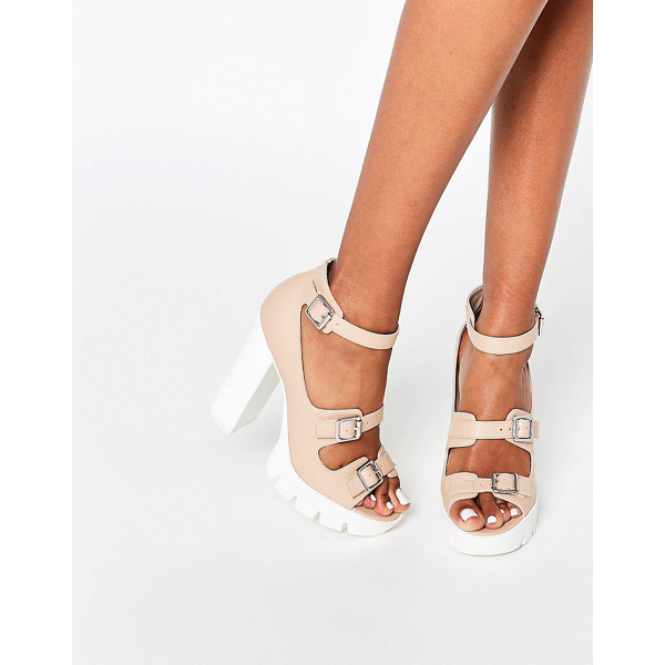 "ASOS OBVIOUS Chunky Heeled Sandals - """"Sandals by ASOS Collection, Faux leather upper,..."