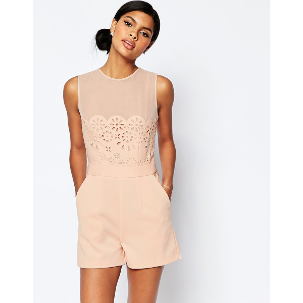 """ASOS Occasion Laser Cut Romper - """"""""Romper by ASOS Collection, Smooth woven fabric, Round..."""