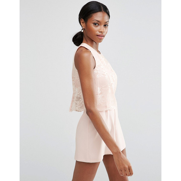 ASOS Occasion pretty lace overlay playsuit - Romper by ASOS Collection Lightweight woven fabric Sheer...