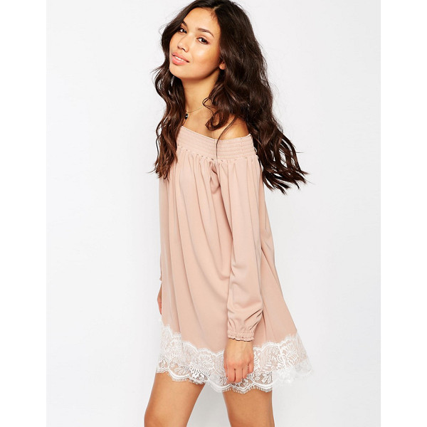 ASOS Off Shoulder Dress in Crepe with Eyelash Lace Hem - Casual dress by ASOS Collection, Lightweight woven fabric,...