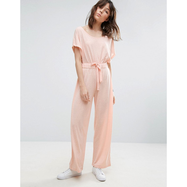 ASOS Off Shoulder Jersey Jumpsuit in Slouchy Burnout - Jumpsuit by ASOS Collection, Soft-touch jersey, Burnout...