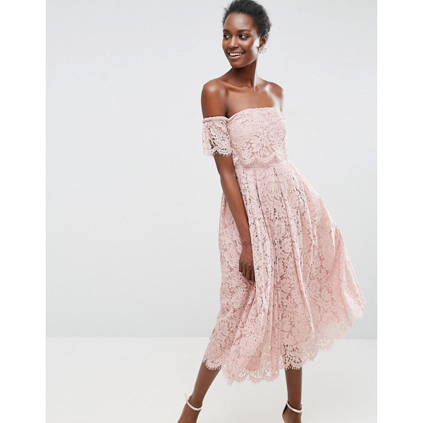 """ASOS Off the Shoulder Lace Prom Midi Dress - """"""""Dress by ASOS Collection, Lined lace, Bardot neck,..."""