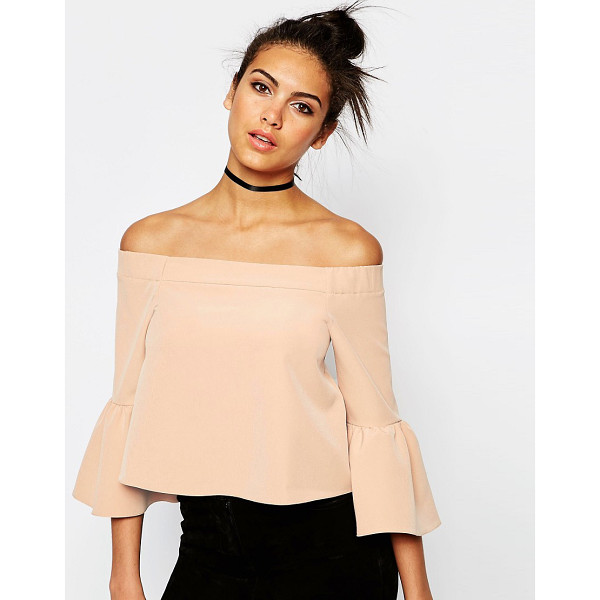 ASOS Off The Shoulder Top With Ruffle Sleeve - Top by ASOS Collection, Stretch jersey, Bardot neckline,...
