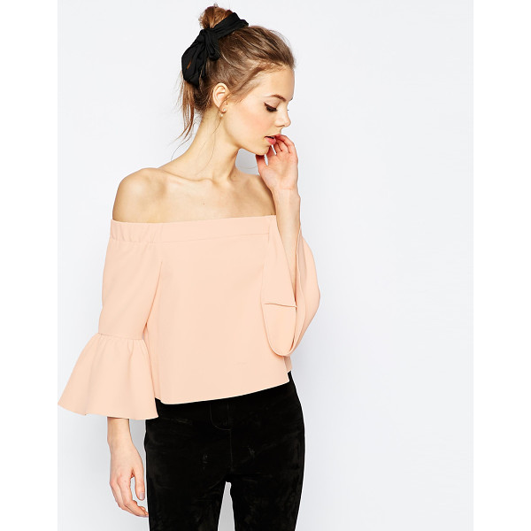 ASOS Off The Shoulder Top With Ruffle Sleeve - Top by ASOS Collection, Lightweight woven fabric, Bardot...