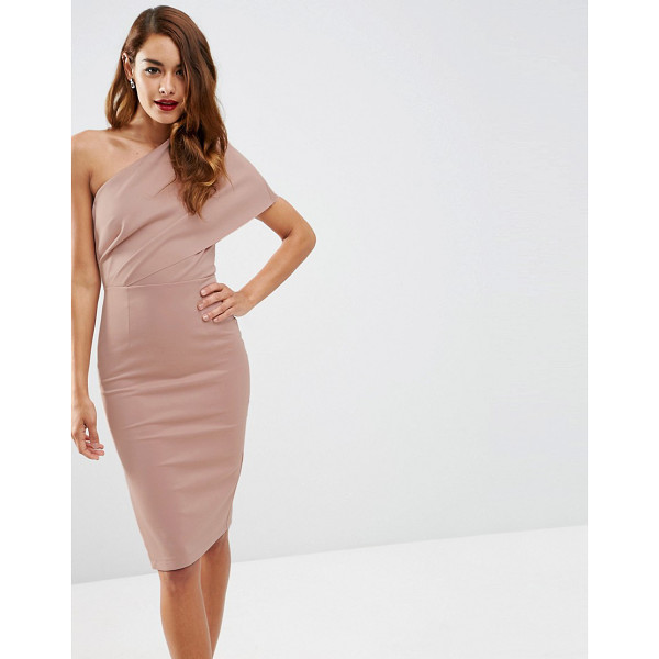 """ASOS One Shoulder Scuba Deep Fold Midi Dress with Exposed Zip - """"""""Bodycon dress by ASOS Collection, Soft-touch scuba-style..."""