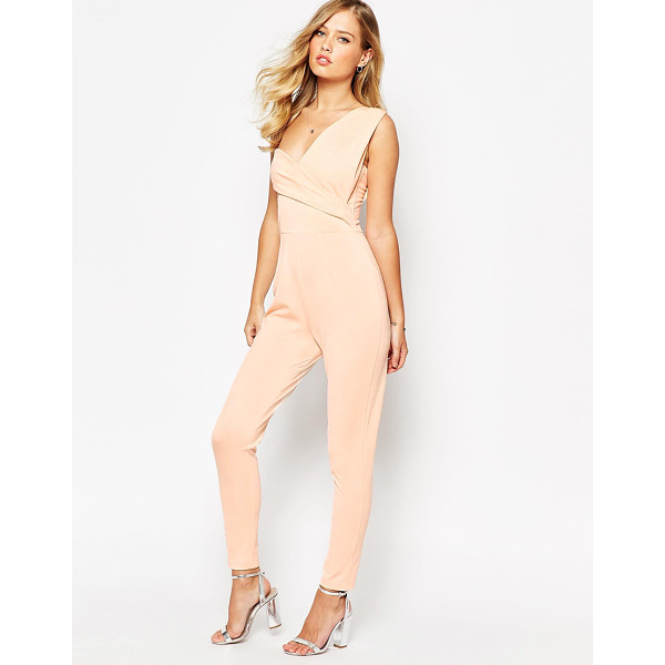 ASOS One Shoulder Drape Jumpsuit - Jumpsuit by ASOS Collection, Mid-weight crepe, Lined...
