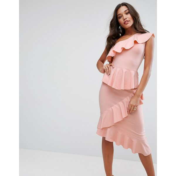 """ASOS One Shoulder Tiered Ruffle Bodycon Midi dress - """"""""Dress by ASOS Collection, Smooth stretch fabric,..."""