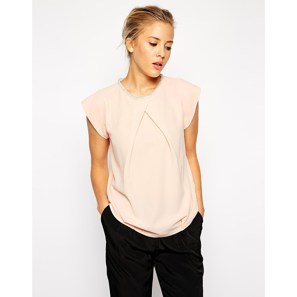 ASOS Origami tshirt with embellished neckline - T-shirt by ASOS Collection Lightweight crepe fabric Bead...
