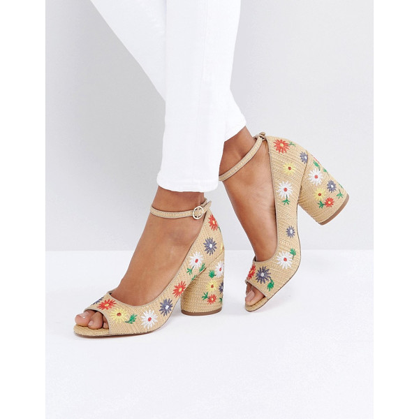 """ASOS ORNAMENT Embroidered Peep Toe heels - """"""""Shoes by ASOS Collection, Textile upper, Ankle-strap..."""