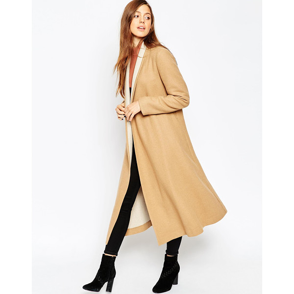 ASOS Oversized Coat with Contrast Shawl Collar - Coat by ASOS Collection, Wool mix fabric, Open front,...