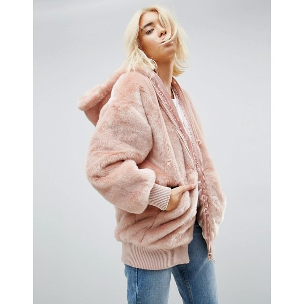 "ASOS Oversized Hooded Jacket in Faux Fur - """"Jacket by ASOS Collection, Soft-touch faux fur,..."