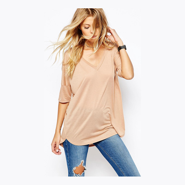 ASOS Oversized Top With V- Neck and Dip Back - T-shirt by ASOS Collection, Soft-touch jersey, V-neckline,...