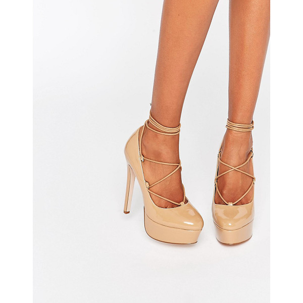 ASOS PARTY ALL NIGHT Lace Up Platforms - Heels by ASOS Collection, Patent leather, Almond toe,...