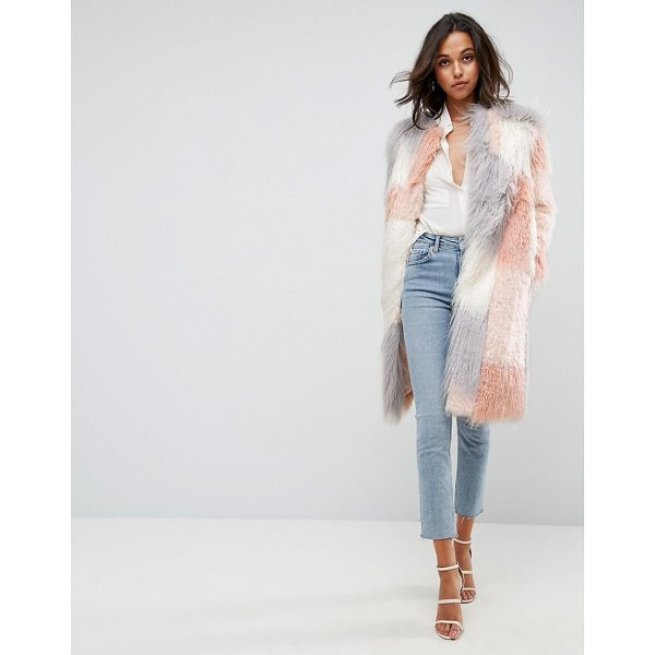 """ASOS Patched Faux Fur Mongolian Coat - """"""""Coat by ASOS Collection, Soft-touch faux fur, Fully..."""