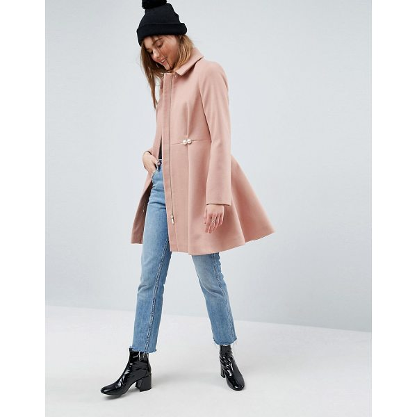 ASOS Pearl Trim Skater Coat - Coat by ASOS Collection, Midweight woven fabric, Fully...