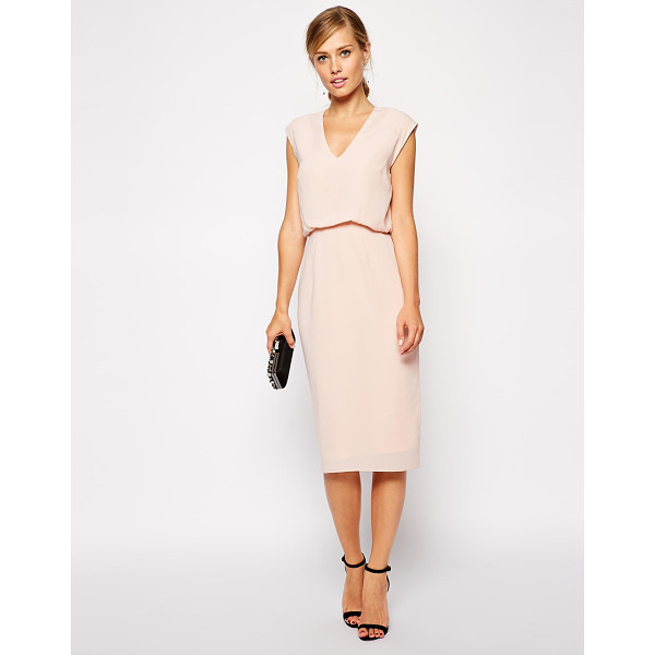 ASOS Pencil dress with blouson and low v - Pencil dress by ASOS Collection Lightweight fabric...