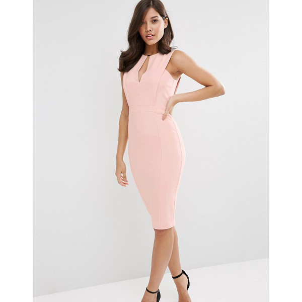 ASOS Pencil Dress with Plunge Neckline - Pencil dress by ASOS Collection, Smooth stretch fabric,...