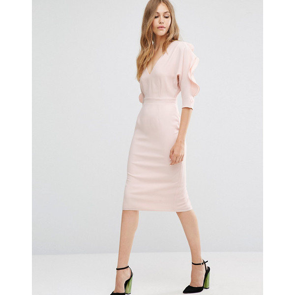 "ASOS Pencil Dress with Ruffle Sleeve - """"Pencil dress by ASOS Collection, Lined woven fabric,..."