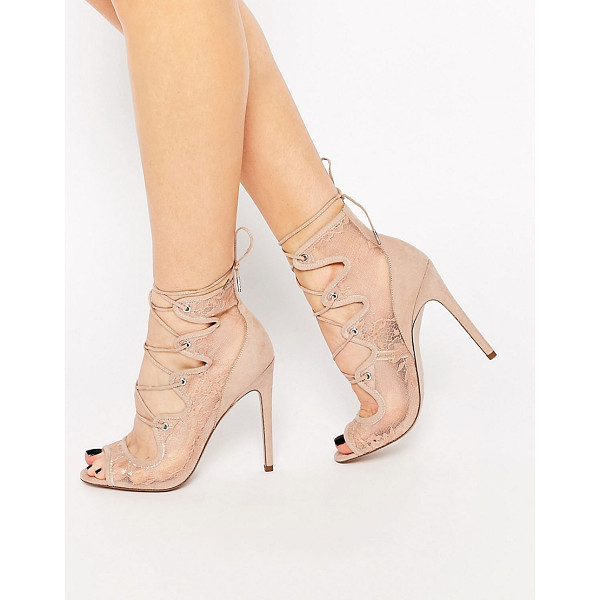 ASOS PERCEPTION Lace Up Heels - Heels by ASOS Collection, Sheer lace upper, Faux suede...