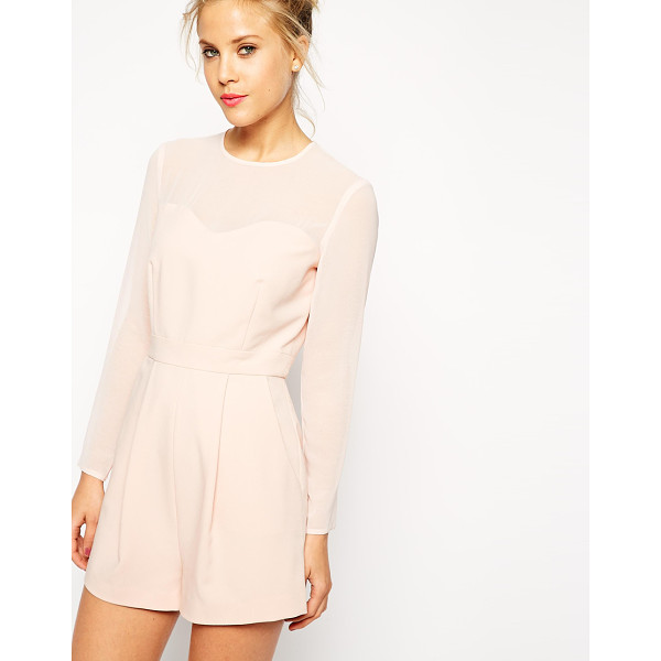 ASOS Playsuit with sheer sleeves - Romper by ASOS Collection Soft touch crepe fabric Crew...