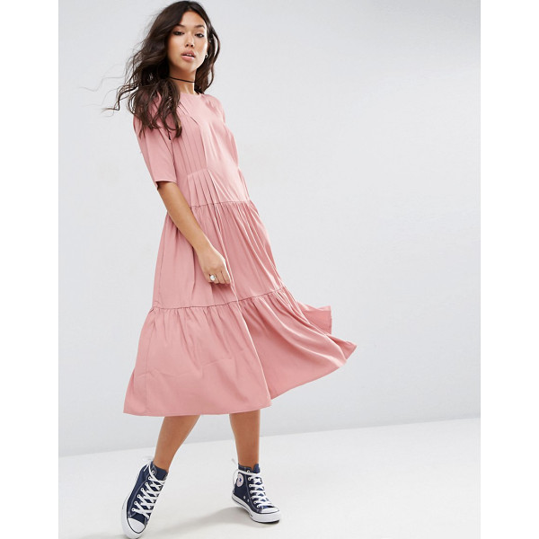 ASOS Pleat Front Smock City Maxi Dress - Dress by ASOS Collection, Woven fabric, Round neckline,...