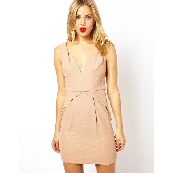ASOS Pleat waist deep v tulip dress - Machine wash according to instructions on care label....