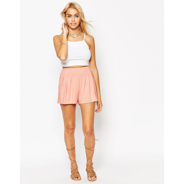 ASOS Pleated Culotte Shorts - Shorts by ASOS Collection, Soft-touch jersey, High-rise...