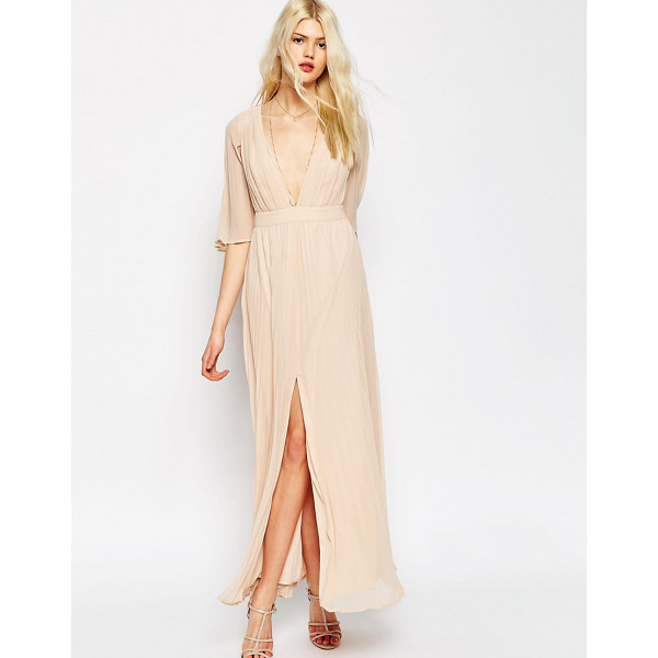 """ASOS Pleated Flutter Sleeve Maxi Dress - """"""""Maxi dress by ASOS Collection, Pleated chiffon, Lined..."""