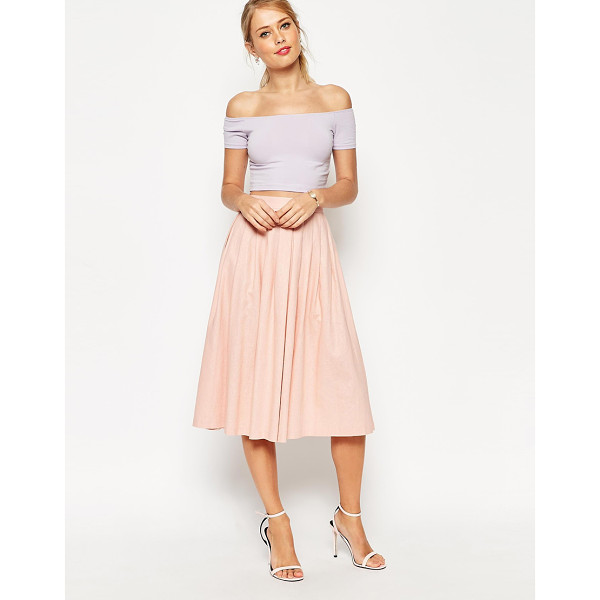 ASOS Pleated midi linen skirt - Midi skirt by ASOS Collection Soft-touch linen-blend...