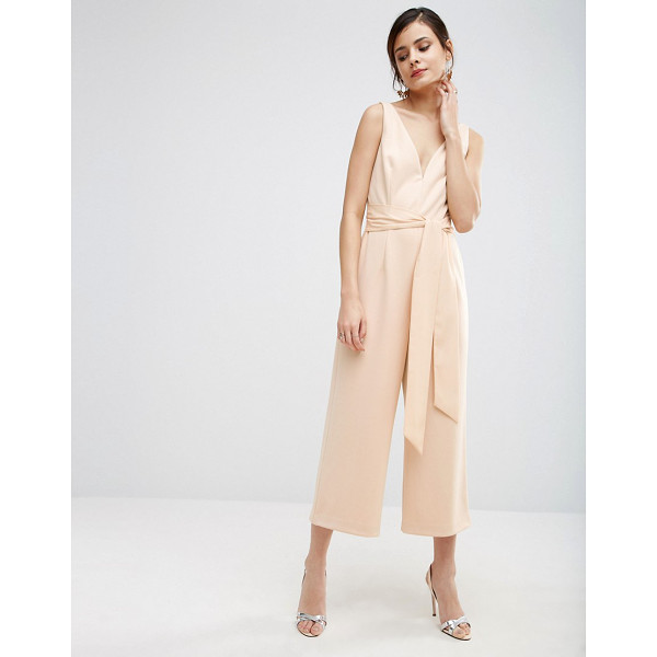"""ASOS Premium Structured Plunge Jumpsuit with Tie Belt - """"""""Jumpsuit by ASOS Collection, Woven fabric, Plunge..."""