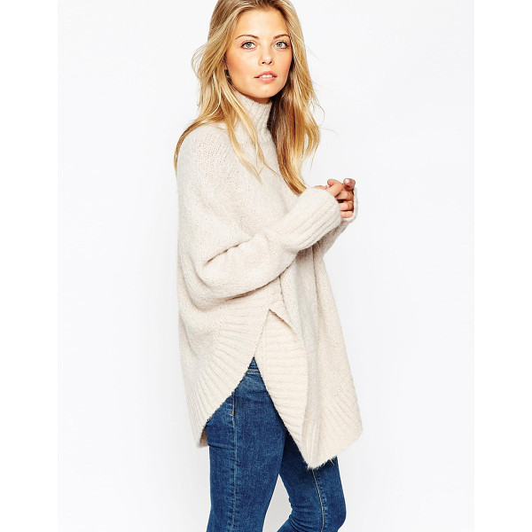 ASOS Poncho with funnel neck in boucle knit - Poncho by ASOS Collection Mid-weight, wool-mix knit...