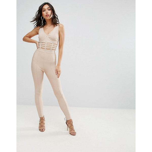 "ASOS Bandage Jumpsuit with Caged Waist Detail - """"Jumpsuit by ASOS Collection, Firm-stretch bandage fabric,..."